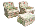Pair, Vintage John Stuart Club Chairs With Ottoman, Signed