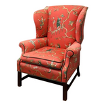 Wingback Chair in Orange Chinoiserie