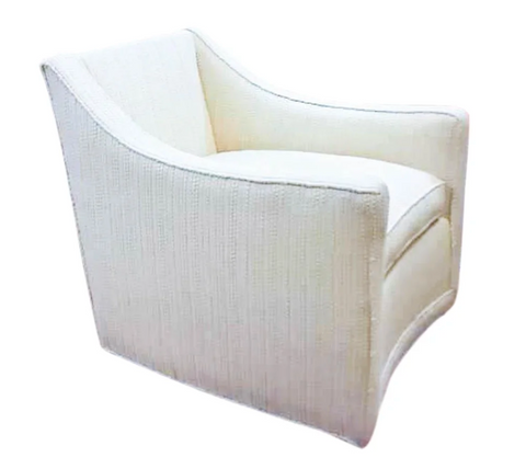 Mid Century Swivel Chair in Off White Boucle Upholstery