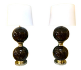 Pair, Large Mid Century Brown Glass Globe Lamps
