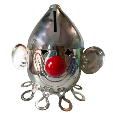 Mid Century Silver Plate Clown Bank, Signed Napier