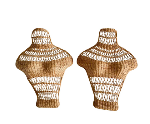 Mid Century Wicker Bust, Torso Forms, a Pair