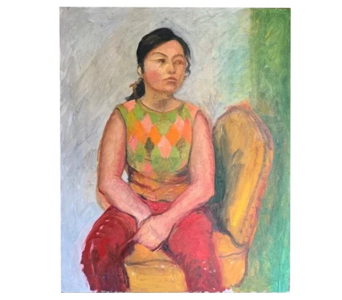 Mid Century Portrait Painting - Thinking on a Chair
