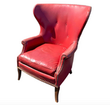 Mid Century Wingback Chair in Red With Nail Heads