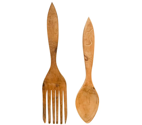 Pair, 4 Foot High Wood Fork and Spoon - Advertising, Folk Art