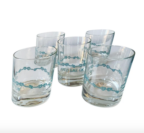 Mid Century, Nautical, Intentionally Crooked Glass Boating Cocktail Glasses