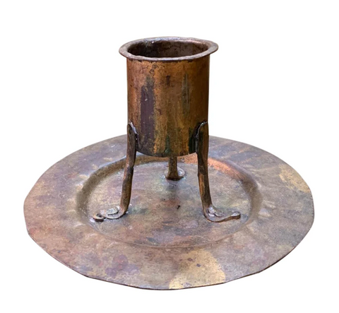 Antique Hand Forged Arts and Crafts Metal Candle Holder