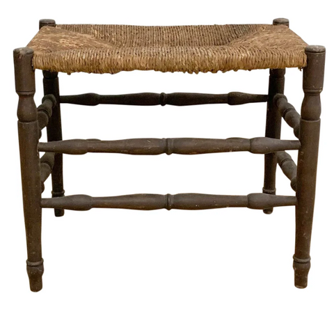 Antique Rush Seat Bench