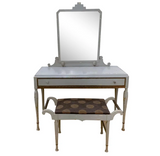 Antique Art Deco Desk, Vanity, Mirror and Chair, Signed Luce Furniture