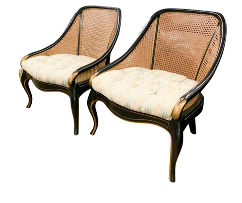 Pair, Neoclassical Club Chairs in Black