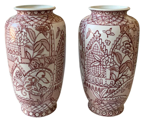 Pair, Large Hand Painted Asian Vases in Pink