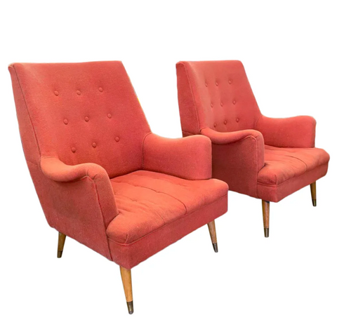 Pair, Mid Century Lounge Chairs Attributed to Kroehler