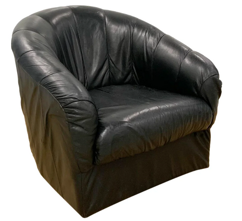 Black Leather Baughman Style Swivel Club Chair