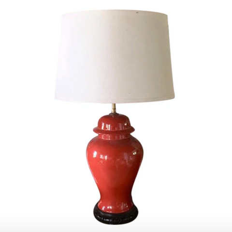 Mid Century Burnt Orange Asian Ginger Jar Lamp