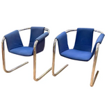 Pair, Chrome Cantilever Sling Zermatt Chairs by Vecta, Italian 1970's