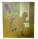 Large Mid Century Painting - Woman on a Floral Chair