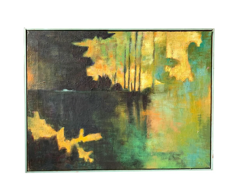 Oil Painting on Canvas - Lakeside Trees