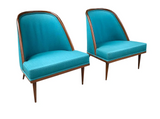 Pair, Mid Century Spoon Back Club Chairs