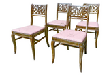 Set of 4 French Style Dining Chairs With Chippy Pink Seats