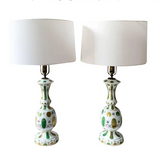 Pair, 1940's Hand Painted Japanese Porcelain Lamps