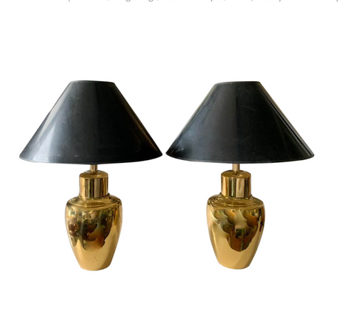 Pair, Heavy Mid Century Brass Ginger Jar Lamps