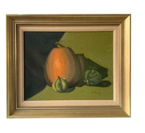Mid Century Still Life Painting - Pumpkin and Squash