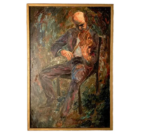 Mid Century Oil Painting - His Violin, Signed Brodkin '60
