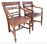 Pair, Carved Wood Armchairs With Over Swept Arms