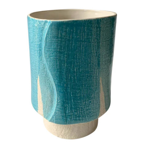 Turquoise and White Ceramic Vase