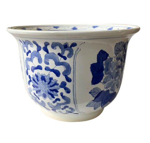 Vintage Blue and White Asian Planter