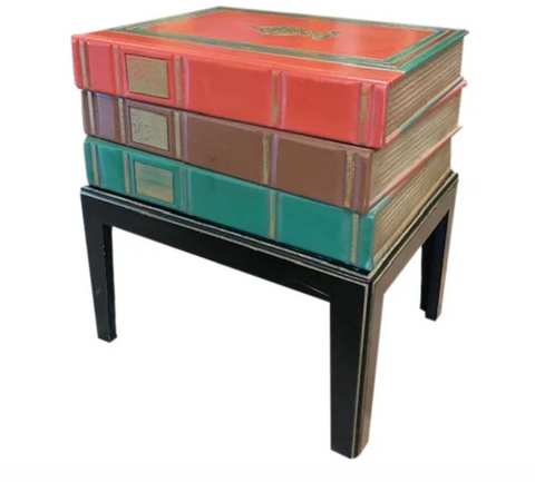 Mid Century - Hollywood Regency Faux Books Side Table