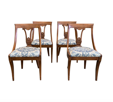 Set of 4 Mid Century, French Style John Stuart Chairs, Signed