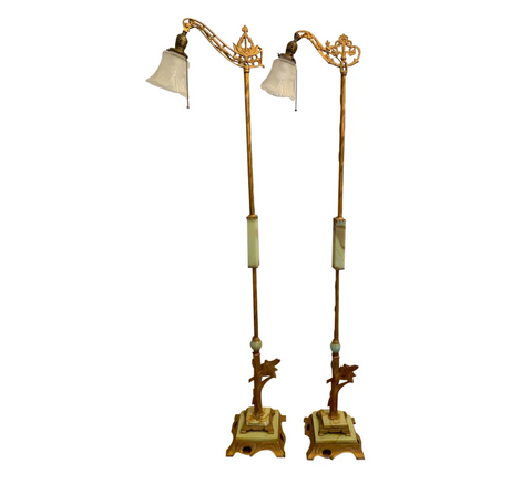 Pair, Antique Art Deco Marble and Metal Floor Lamps