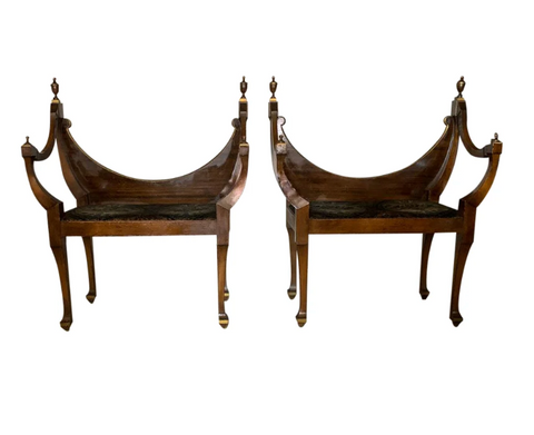 Pair, Antique Hall Chairs, Benches