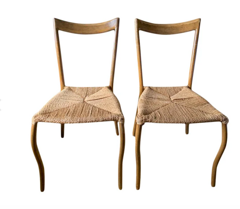 Pair, Mid Century Chairs With Rope Seats