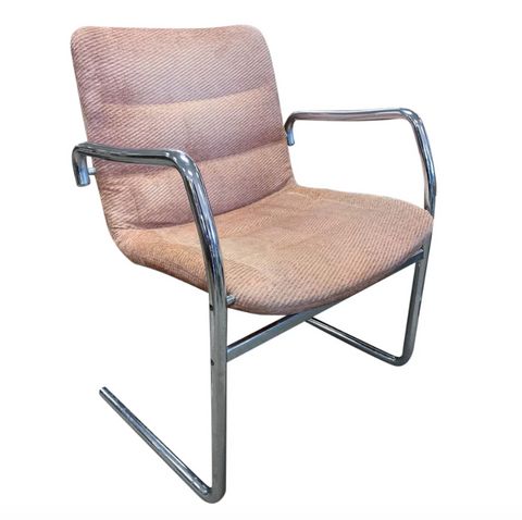 Mid Century Tubular Chrome Cantilevered Arm Chair in Pink