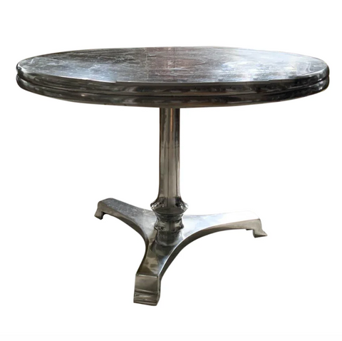 Round Polished Aluminum Coffee Table, Side Table