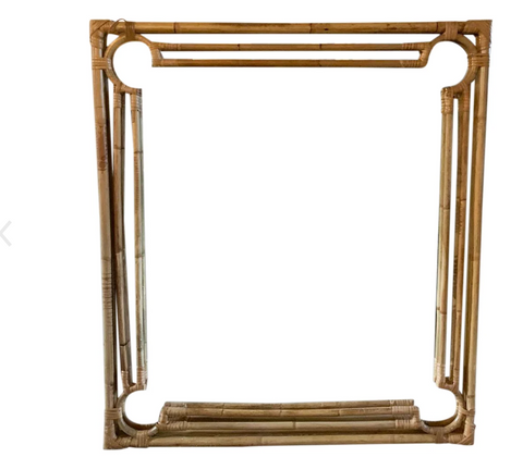 Mid Century Bamboo and Rattan Mirror