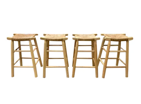 Set of Four - Danish Rope Seat Wood Benches, Bar Stools