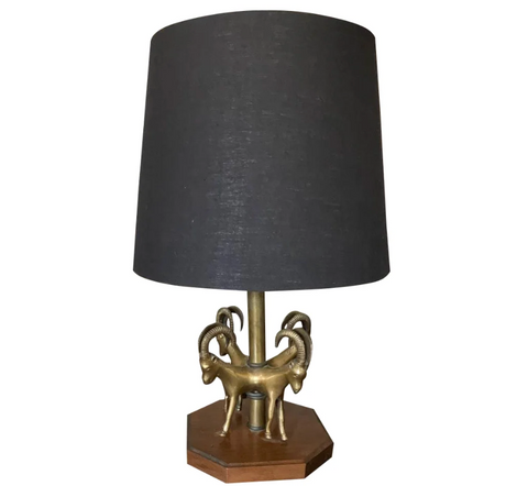 Art Deco Figural Gazelles Brass Lamp