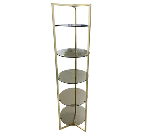 Mid Century Brass 5 Shelf Etager- Vertical Shelving
