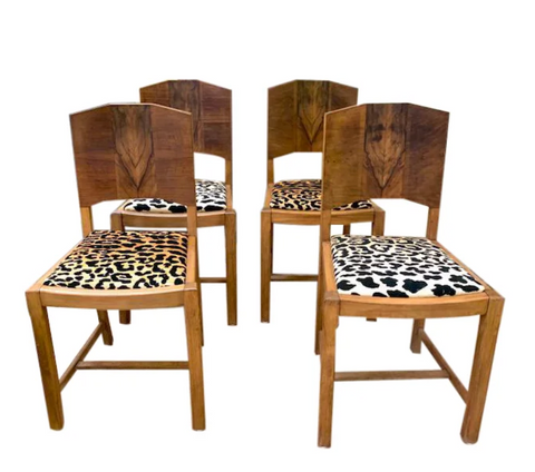 Set of 4 1930's Art Deco Dining Chairs - Leopard Seats