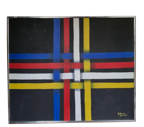 Mid Century Abstract Painting - Crossed Lines