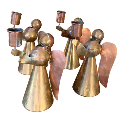 Mid Century Brass and Copper Angel Candle Holders
