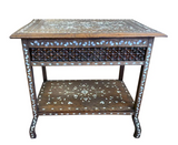 19th Century Asian Hand Carved Table With Mother of Pearl Inlay
