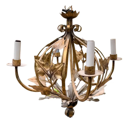 Mid Century French Gold Toleware Chandelier
