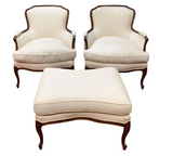 Pair of French Arm Chairs With Bow Tie Ottoman