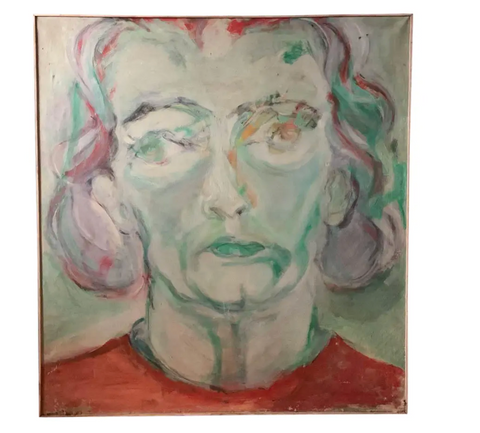 Large Mid Century, Vintage Painting - Her Face