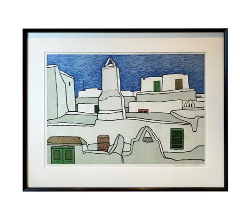 Mid Century Signed, Numbered Print - City Scape in White