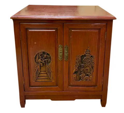Mid Century Asian Cabinet With Carved Doors